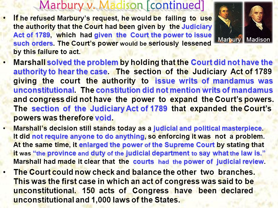 Marbury v. Madison [continued]